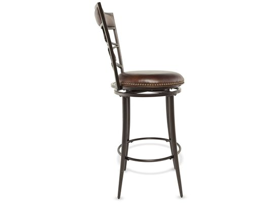 """Casual 46"""" Nailhead Accented Bar Stool in Brown"""