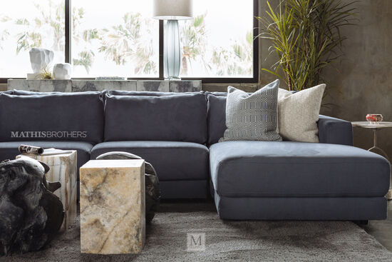 Five-Piece Contemporary Sectional in Regata Gray