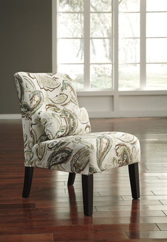 "Paisley Patterned Traditional 30"" Accent Chair in Cream"