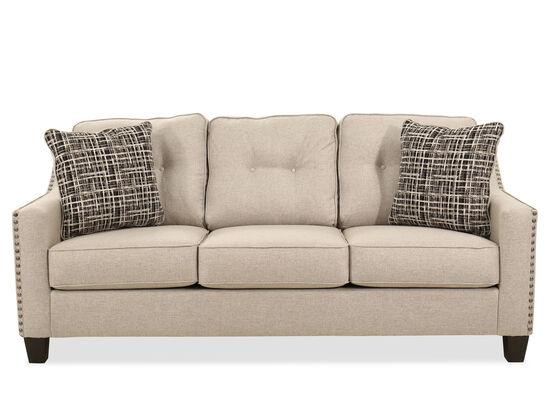 """Nailhead-Accented Contemporary 80"""" Sofa in Cream"""