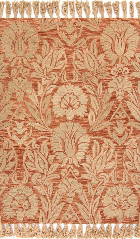 """Traditional 1'-6""""x1'-6"""" Square Rug in Persimmon"""