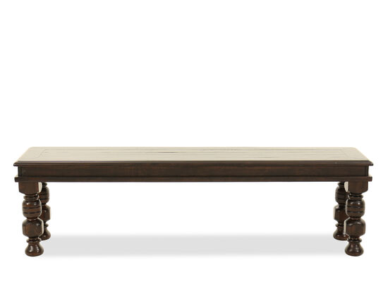"Solid Pine Wood 64"" Dining Bench in Dark Brown"