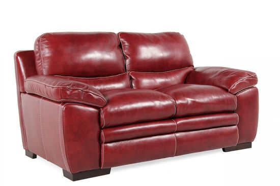 """Contemporary Leather 67"""" Loveseat in Red Salsa"""