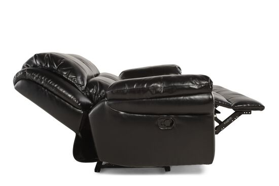 """Motion Reclining Leather 65"""" Loveseat in Black"""