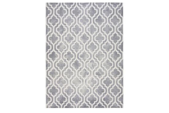 LBJ Hand Tufted Wool Grey Geometric Rug