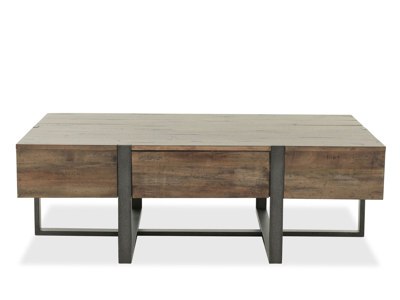 Distressed rectangular industrial cocktail table in brown for Cocktail tables