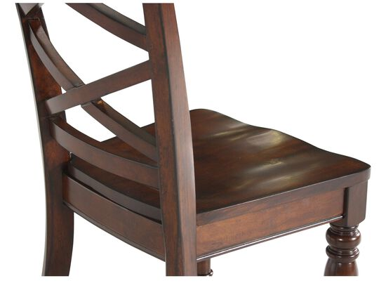 Two-Piece Double X-Back 40'' Side Chair Set in Burnished Brown