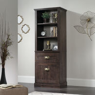 One-Door Contemporary Tall Cabinet in Coffee Oak