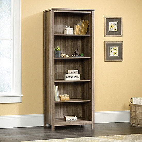 Traditional Adjustable Shelf Open Library in Salt Oak