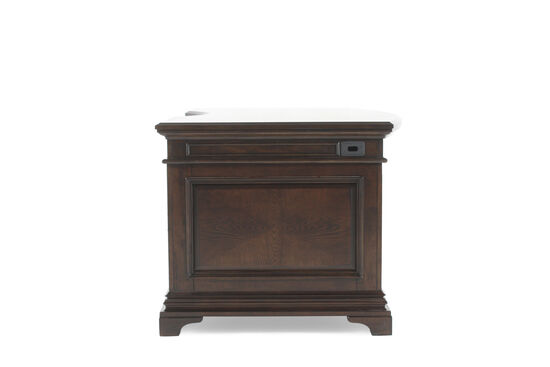 """72"""" Traditional Curved Executive Desk in Brown"""