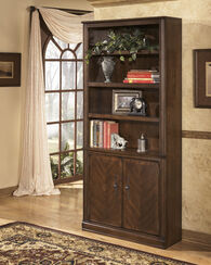 Two-Door Traditional Large Bookcase in Medium Brown