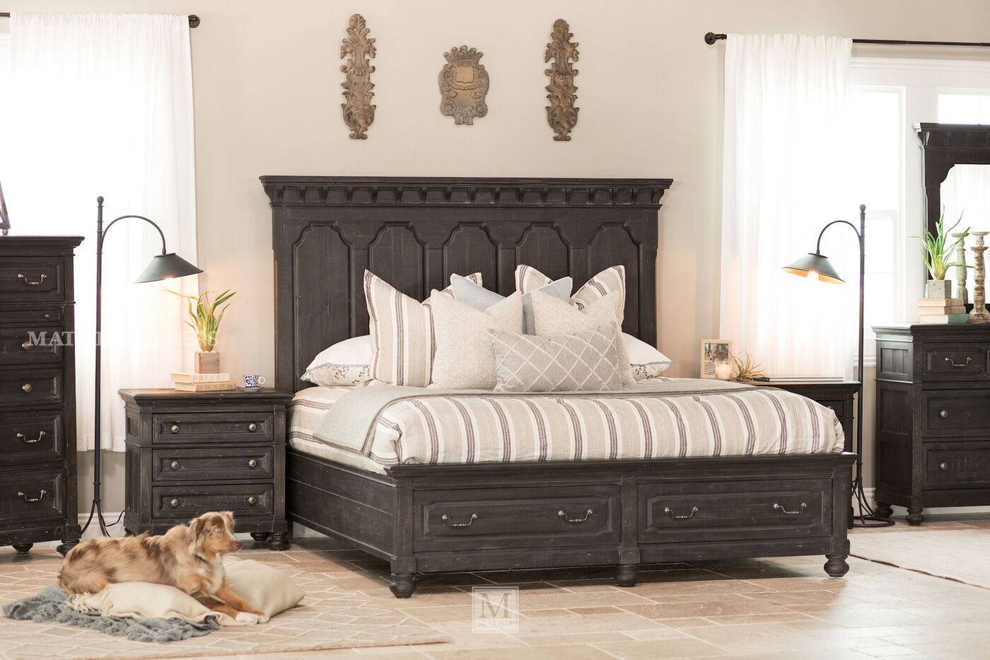 Four Piece Distressed Bedroom Set In Black Mathis Brothers Furniture