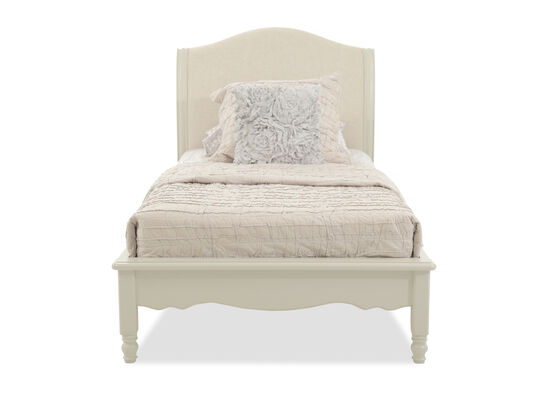 Country Distressed Youth Platform Bed in Seashell White