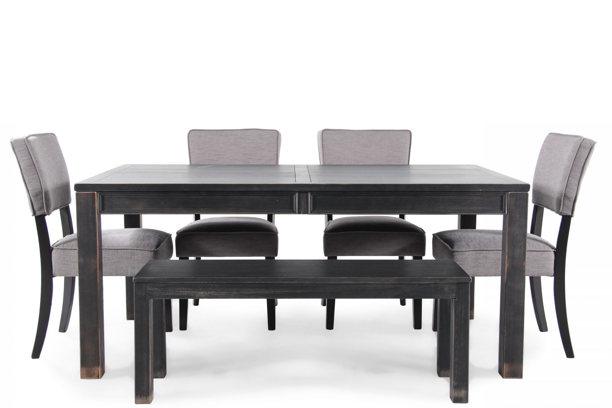 Six Piece Casual Dining Set In Weathered Black