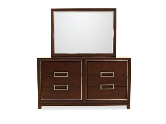 Two-Piece Contemporary Four-Drawer Dresser and Mirror in Brown