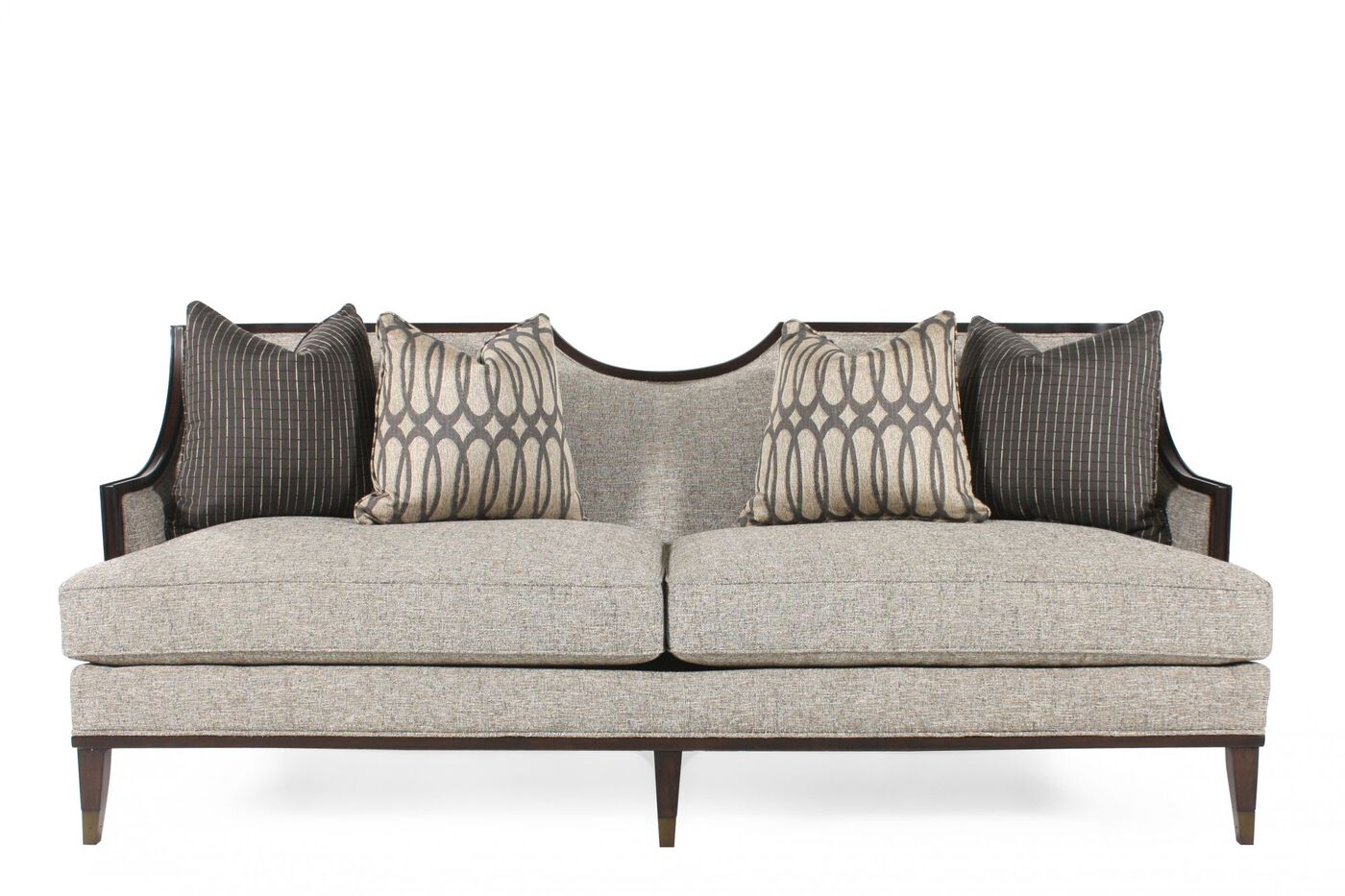 Mid century modern wood trimmed 84 5 sofa in gray mathis brothers furniture for Mathis brothers living room furniture