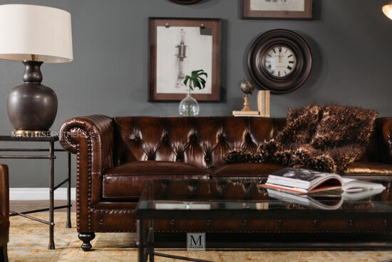 """Leather Button-Tufted 92.5"""" Sofa in Dark Brown"""
