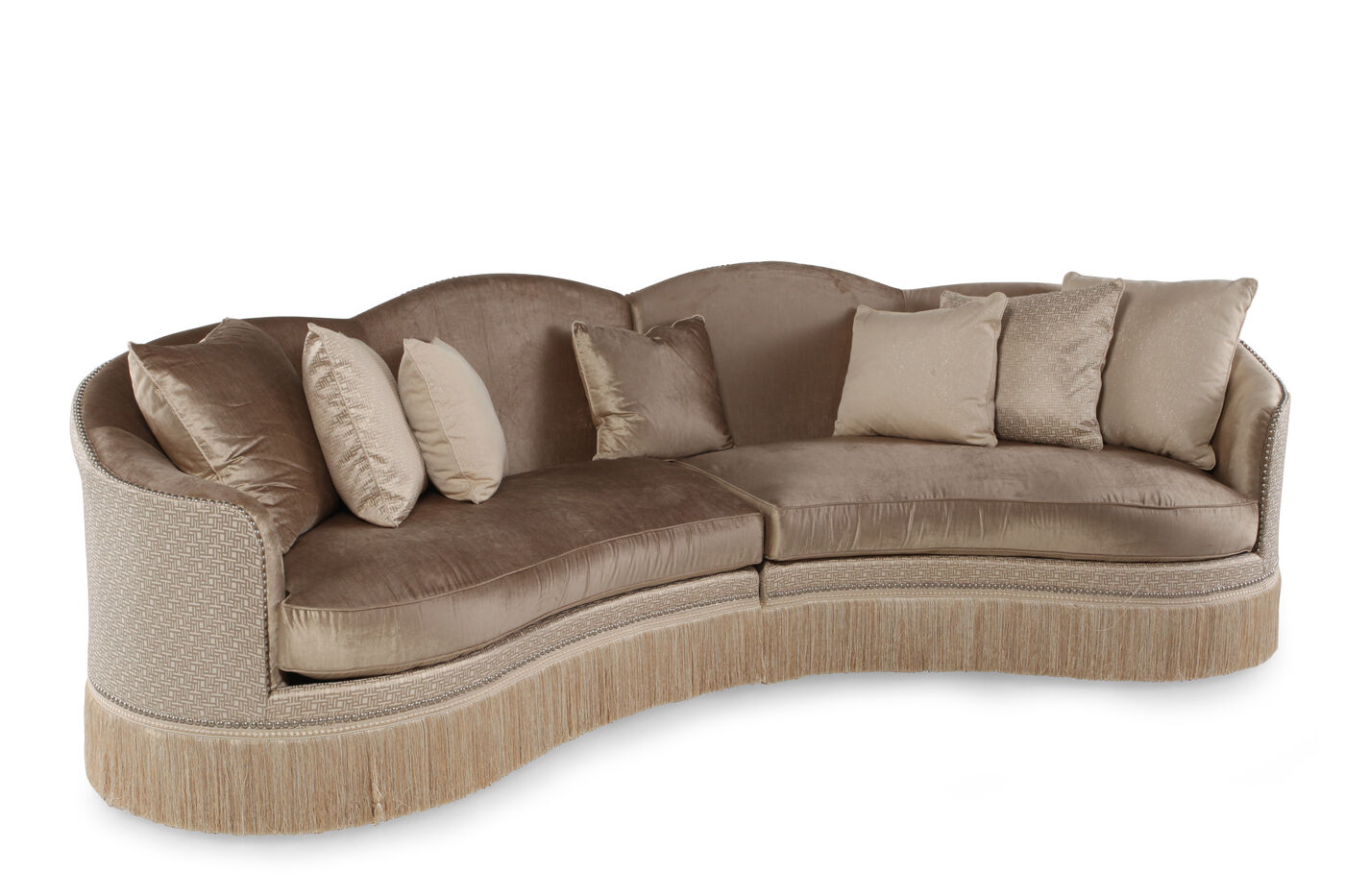 Two piece traditional 152 sectional in golden brown for Traditional sectional
