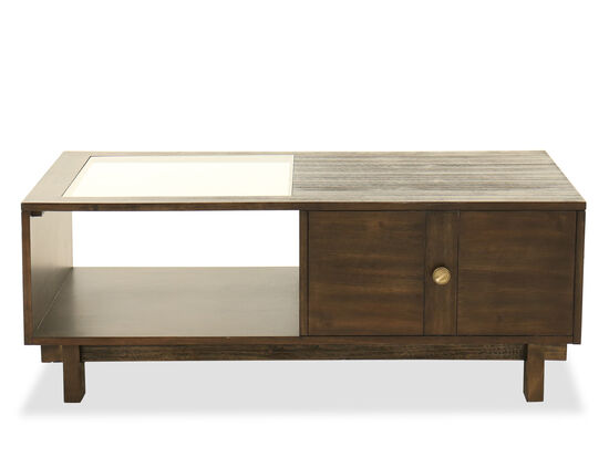 Contemporary Glass-Inset Cocktail Table in Dark Brown