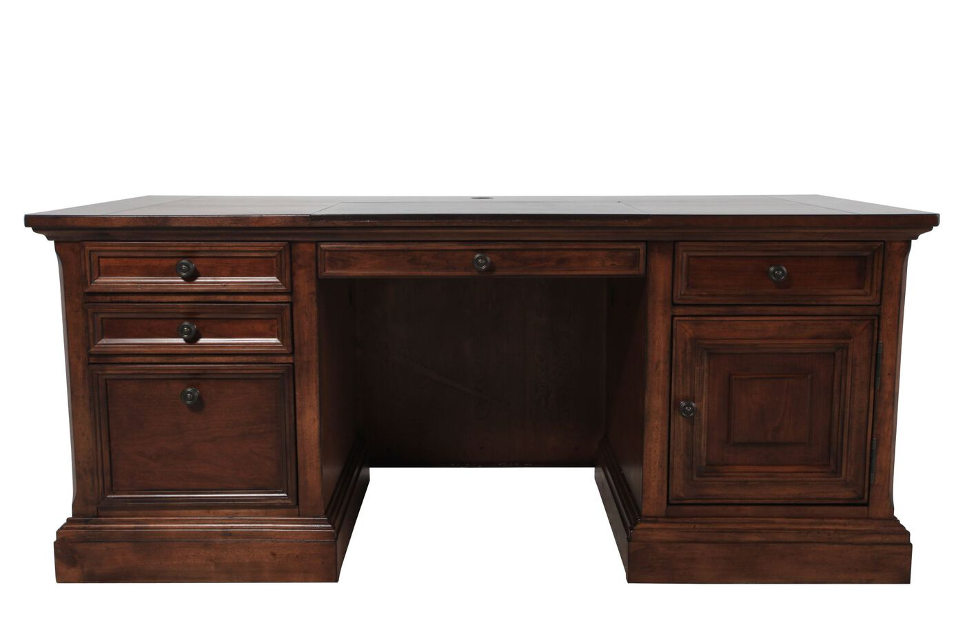 70 Quot Casual Five Drawer Executive Desk In Brown Mathis Brothers Furniture