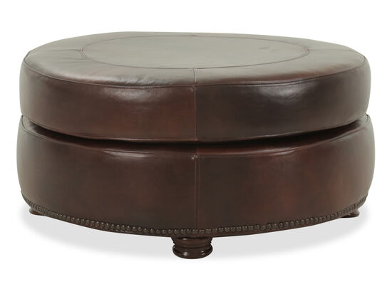 "Nailhead Accented Contemporary 30"" Leather Ottoman in Brown"