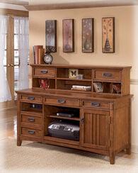 Ashley Cross Island Medium Brown Home Office Short Desk Hutch