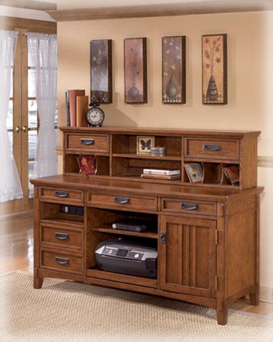 "58"" Casual Short Two-Drawer Desk Hutch in Medium Brown Oak"