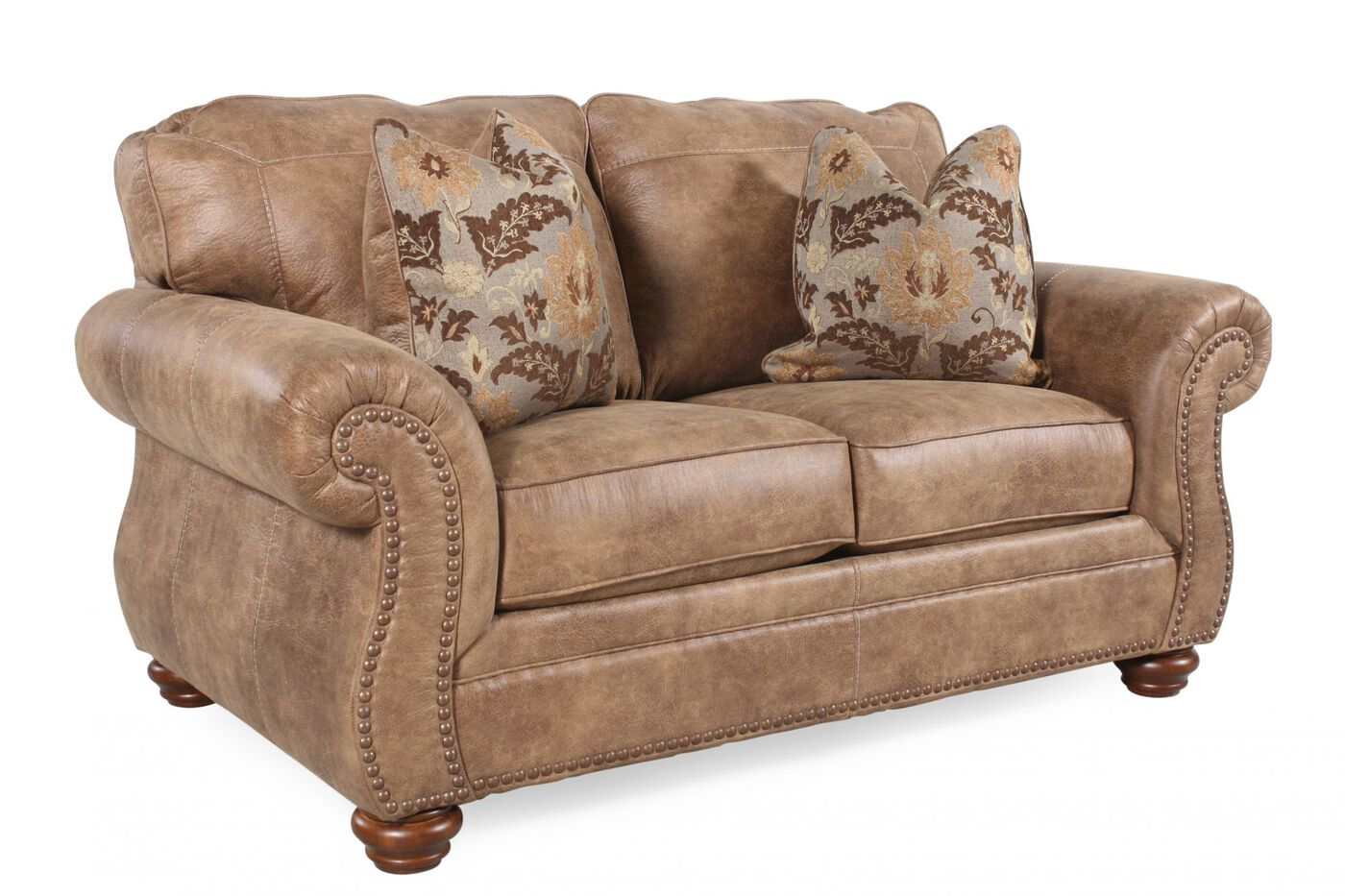 Nailhead trimmed traditional 66 loveseat in brown for Traditional loveseat