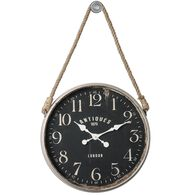Rope Hanging Wall Clock with Decorative Hook in Matte Black