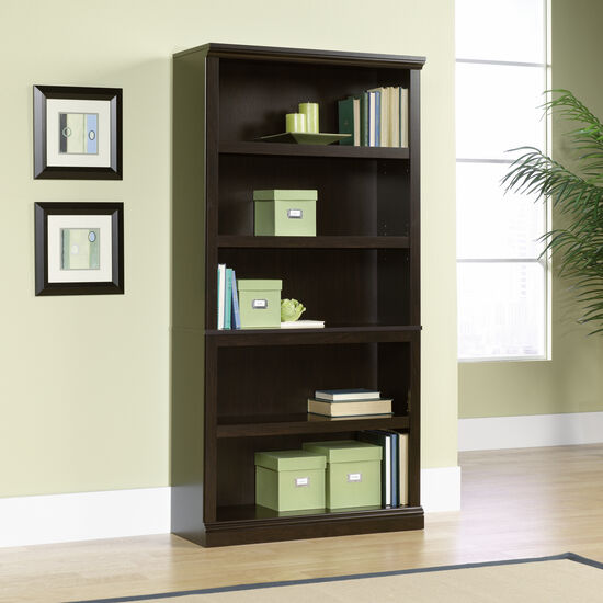 Transitional Adjustable Shelf Bookcase in Jamocha Wood