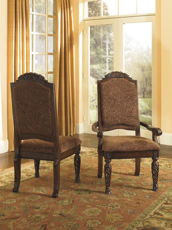 """Abstract Patterned 23"""" Upholstered Side Dining Chair in Dark Brown"""