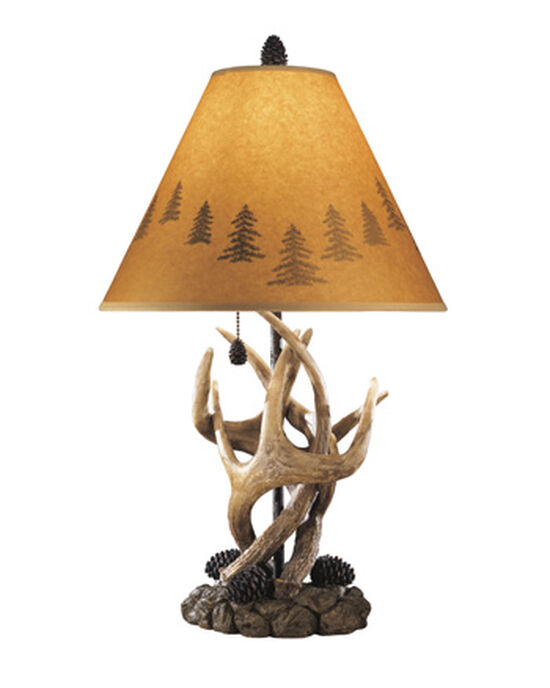 Casual Antler-Accented Table Lamp