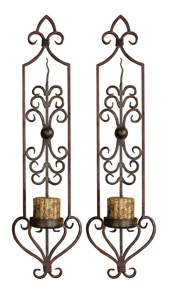 Two-Piece Scrolled Wall Sconces in Rustic Mahogany