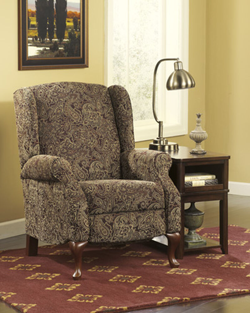 paisley patterned traditional 30 high leg recliner mathis brothers furniture. Black Bedroom Furniture Sets. Home Design Ideas