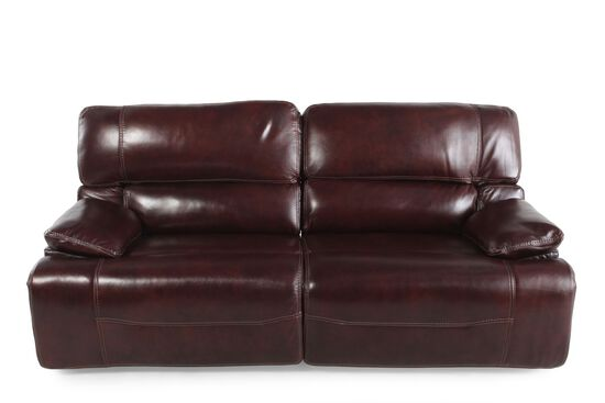 """Leather 83"""" Power Reclining Sofa In Cabernet"""