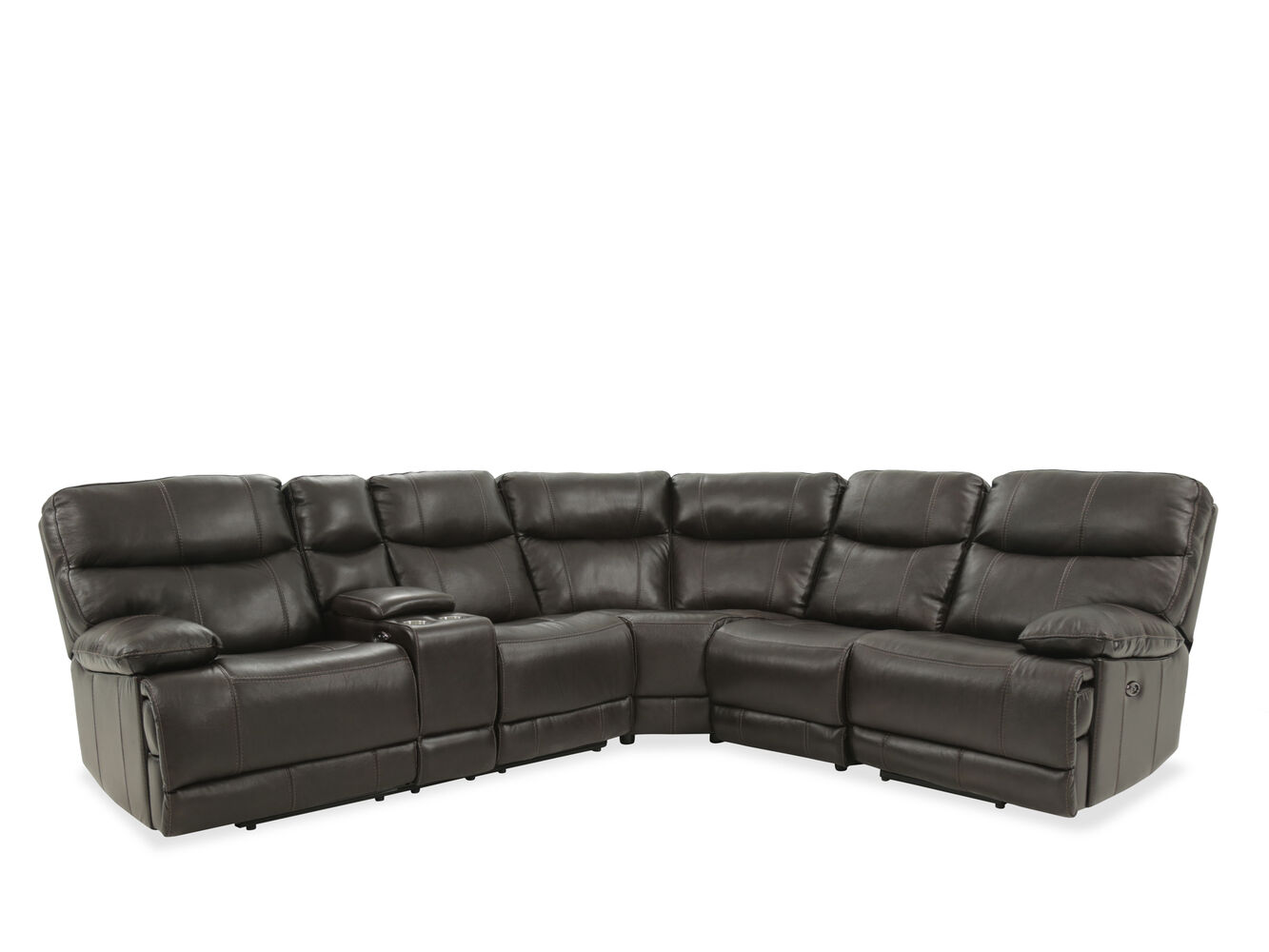 Four-Piece Leather Reclining Sectional in Brown | Mathis Brothers ...
