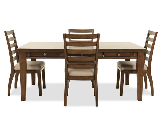 "Five-Piece Casual 72"" Dining Set in Brown"