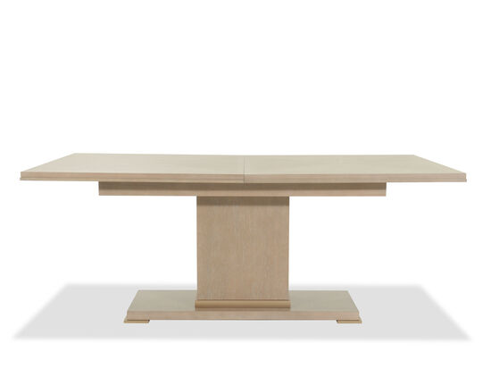 """Transitional 46"""" Pedestal Dining Table in Gray"""