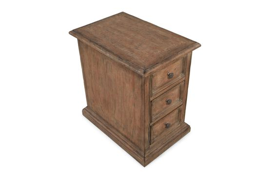 25'' Three-Drawer Traditional Chairside Chest in Brown