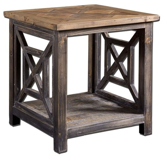 Geometrical Sides End Table in Brushed Black