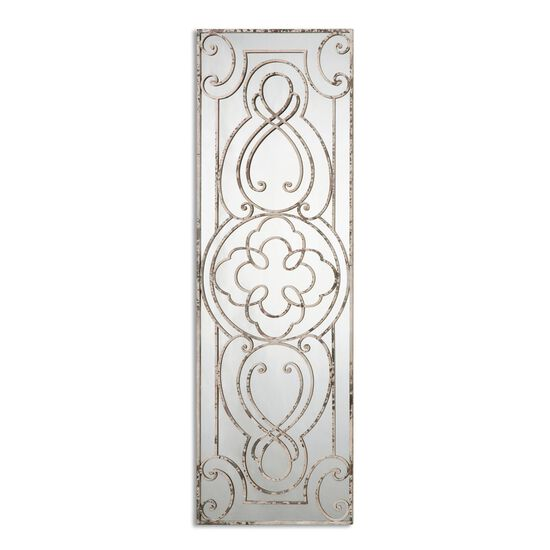 """64"""" Scrollwork Accent Mirror in Aged White"""