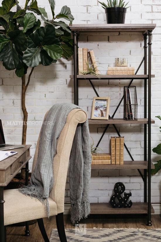Five-Shelf Contemporary Open Bookcase in Dark Gray