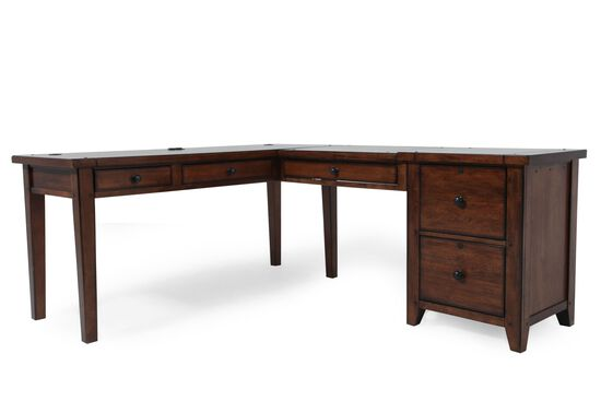 Country Modular L-Desk with File in Saddle Brown