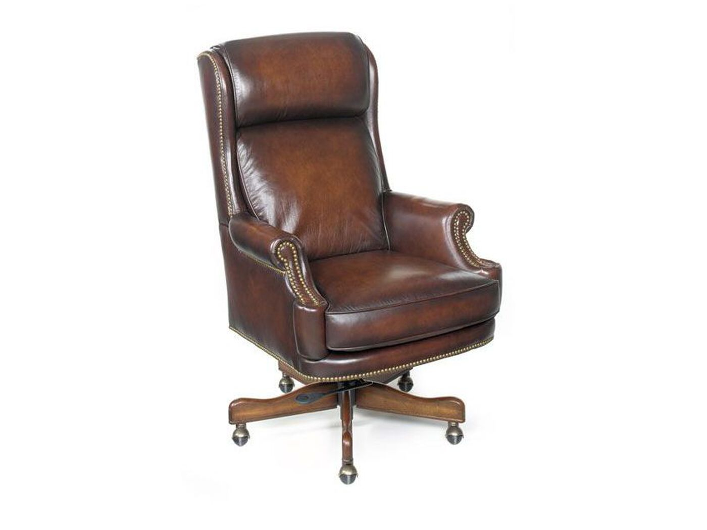 Leather Nailhead Accented Executive Swivel Tilt Chair In