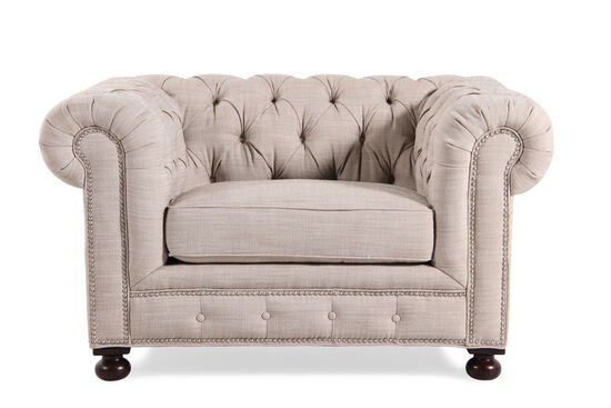 "Button-Tufted Traditional 55"" Chair in Cream"