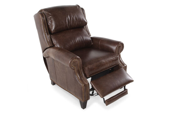 """Leather Nailhead Accented 36"""" Reclinerin Mahogany Brown"""