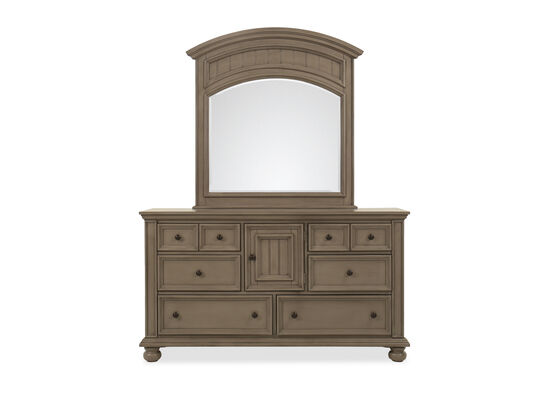Two-Piece Casual Dresser & Mirror in Khaki Gray
