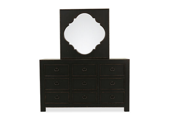 Two-Piece Traditional Nine-Drawer Dresser and Mirror in Kettle Black