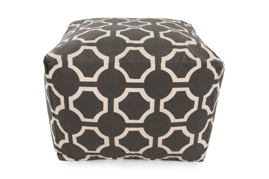 "Geometric Patterned Traditional 19"" Ottoman in Gray"