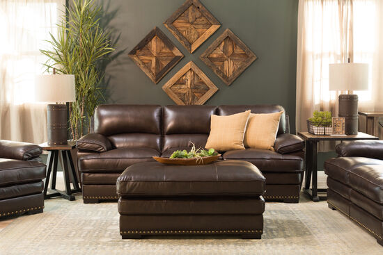 "Nailhead Accented Contemporary 45"" Leather Cocktail Ottoman in Brown"